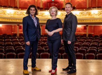Od lewej: Bassem Akiki – dyrektor muzyczny, Halina Ołdakowska, dyrektor Opery Wrocławskiej, Mariusz Kwiecień, dyrektor artystyczny. fot: Mariusz Kaźmierczak