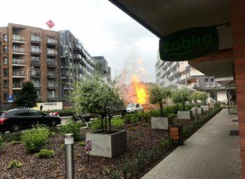 Przerwany gazociąg i wybuch na Dmowskiego [RELACJA]